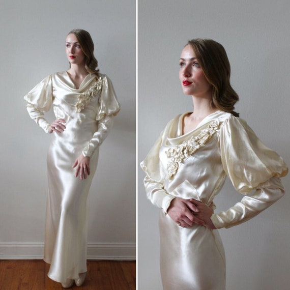 Vintage 1930's Bias Satin Long Sleeve Wedding Dres