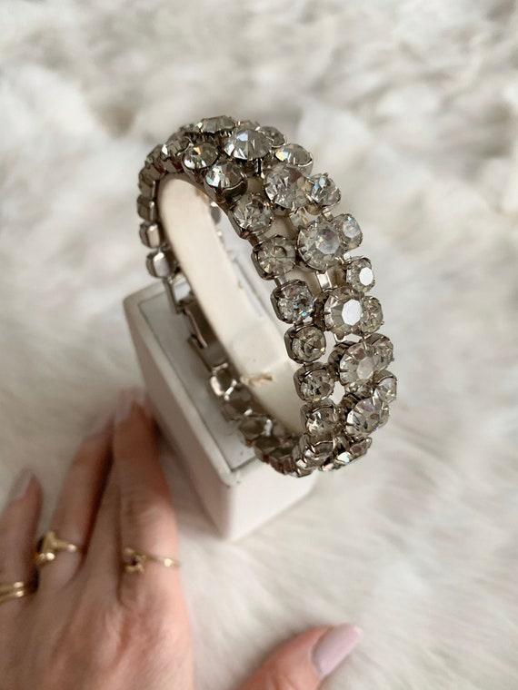 Vintage Mid Century Rhinestone Crystal Bracelet