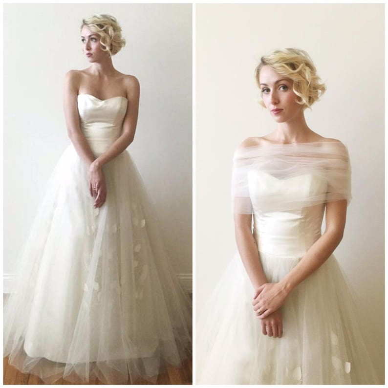 Vintage Wedding Dresses For Sale.Sale Was 1550 Vintage Bridal Modern Duchess Silk Satin Wedding Gown With 1950 S Skirt And Tulle