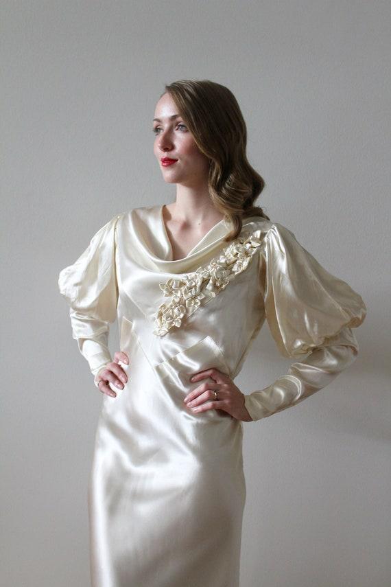 Vintage 1930's Bias Satin Long Sleeve Wedding Dre… - image 4