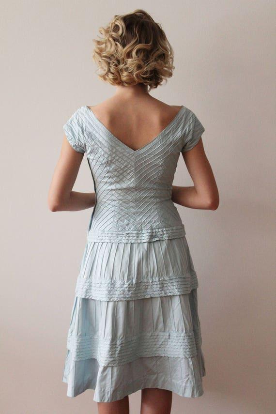 Vintage 1950s - 1960s Sky Blue Pima Cotton Tiered… - image 9