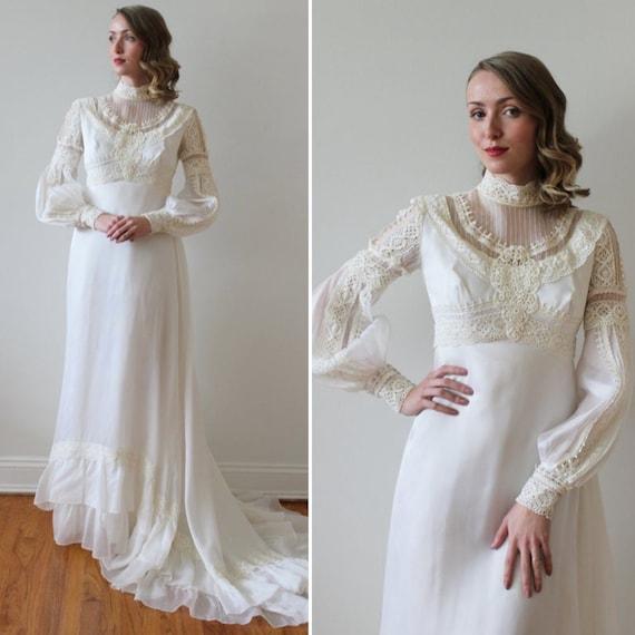 Vintage 1970s Long Bishop Sleeve Boho Wedding Dres