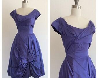 Vintage 1960's Violet / Blue Satin Party Dress with Asymmetrical pleats