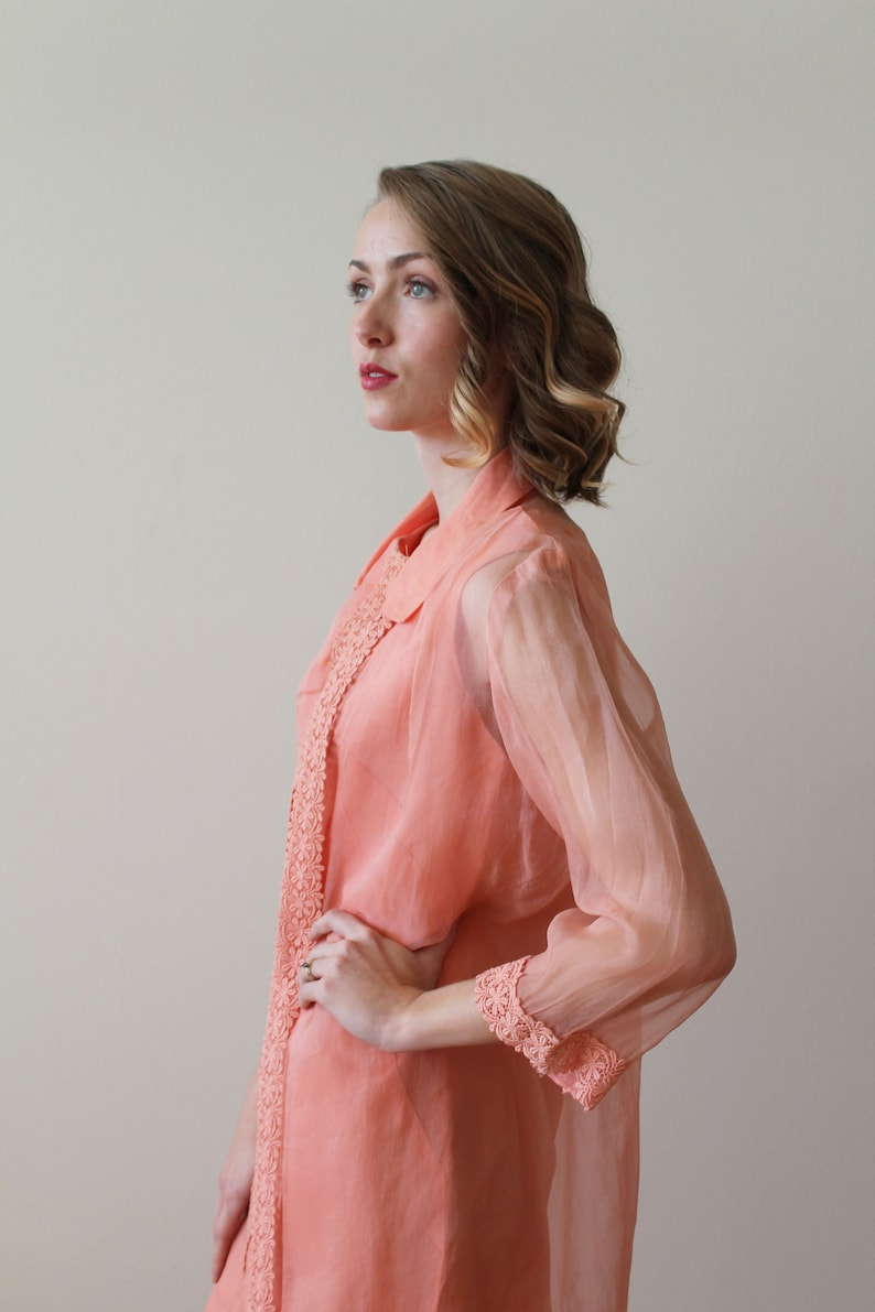 MOB Spring Wedding Wedding Shower Vintage 1960s Coral Party Dress with Matching Jacket