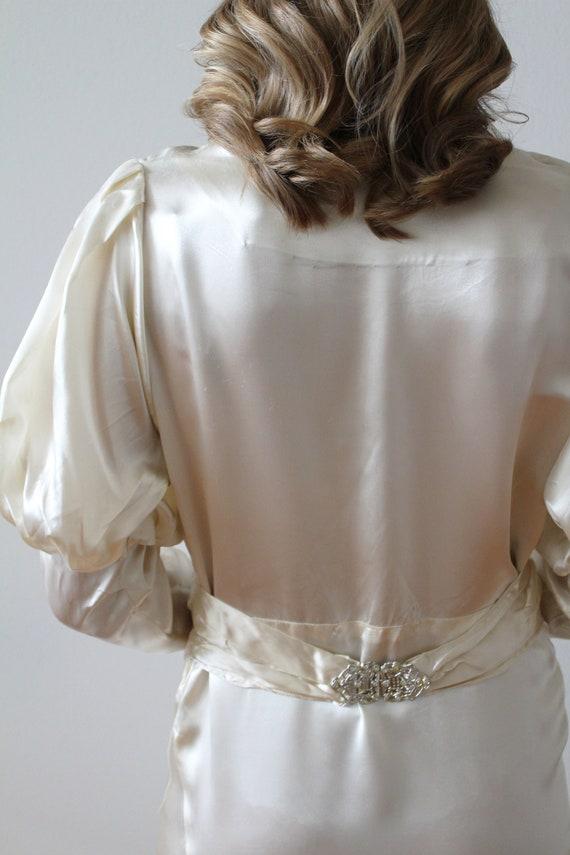 Vintage 1930's Bias Satin Long Sleeve Wedding Dre… - image 9