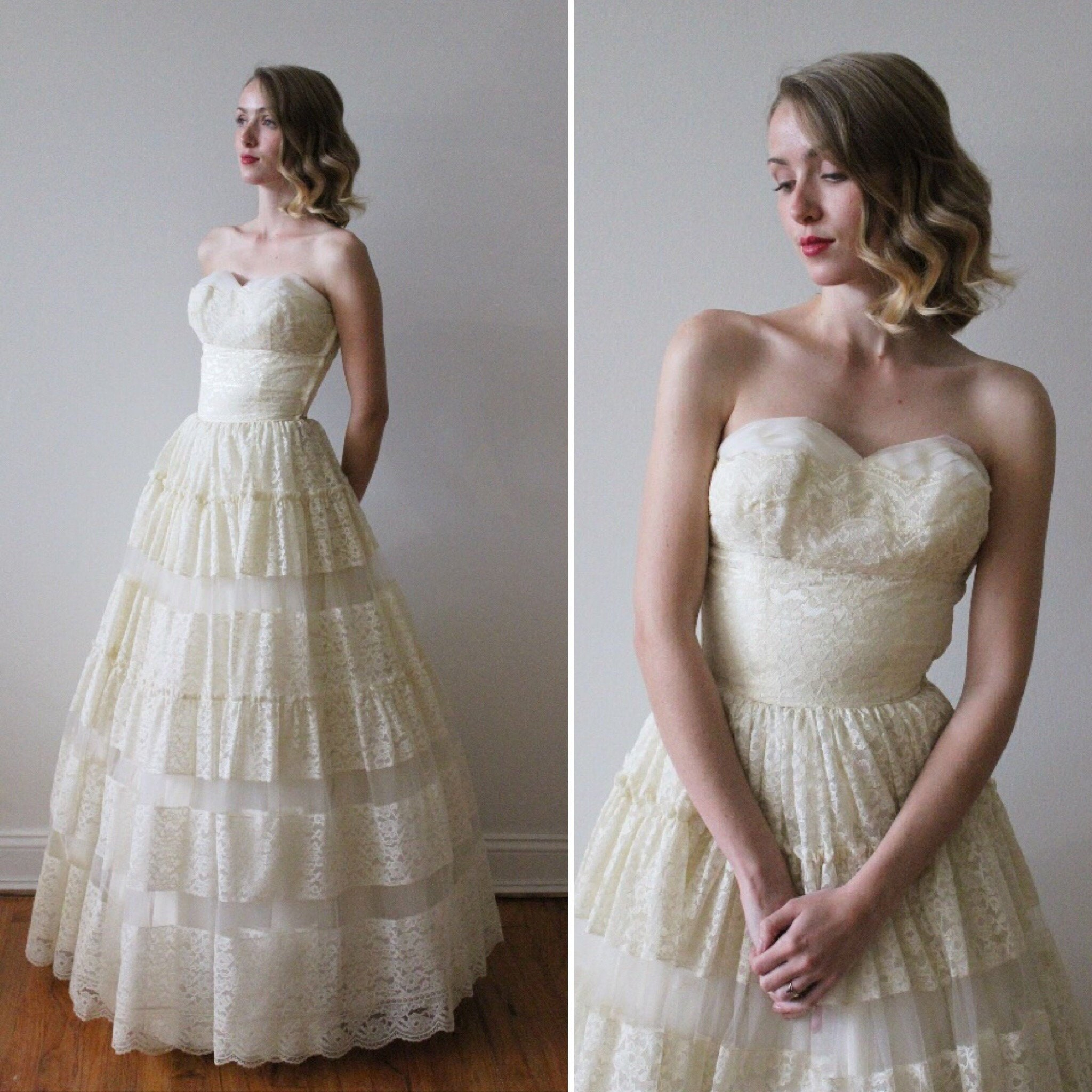 18bc76fa5a Lace And Tulle Strapless Wedding Dress