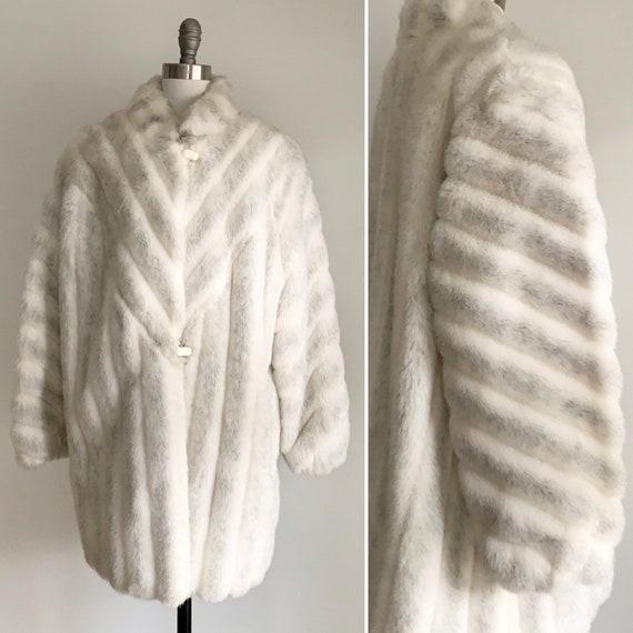 Vintage 1970's Faux Fur Winter Coat- Winter Weddin