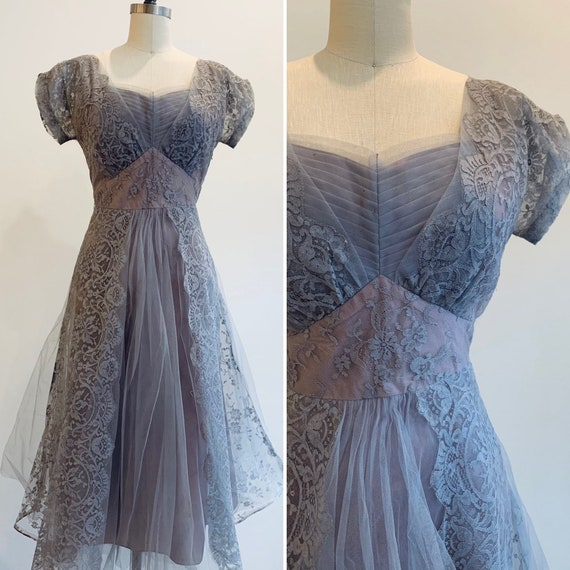 Vintage 1950's Lavender tone Tulle and Lace Dress