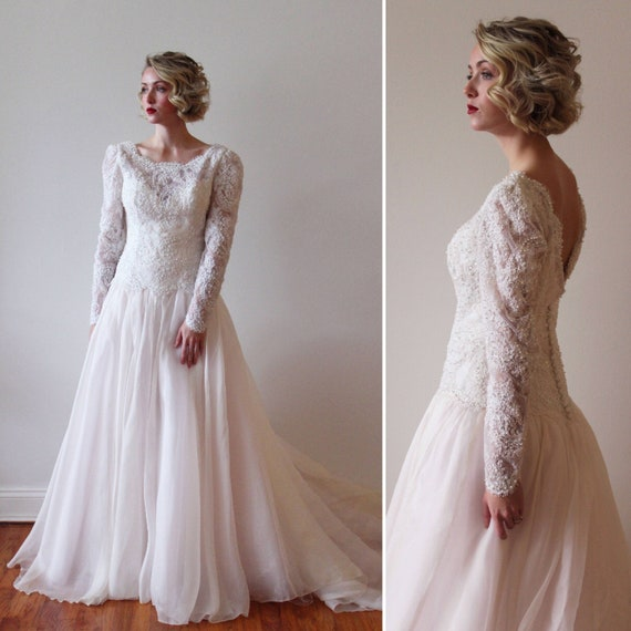 Vintage 1980s Long Sleeved Wedding Gown with Blush