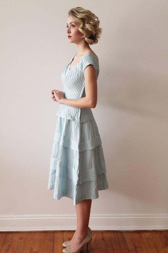 Vintage 1950s - 1960s Sky Blue Pima Cotton Tiered… - image 7