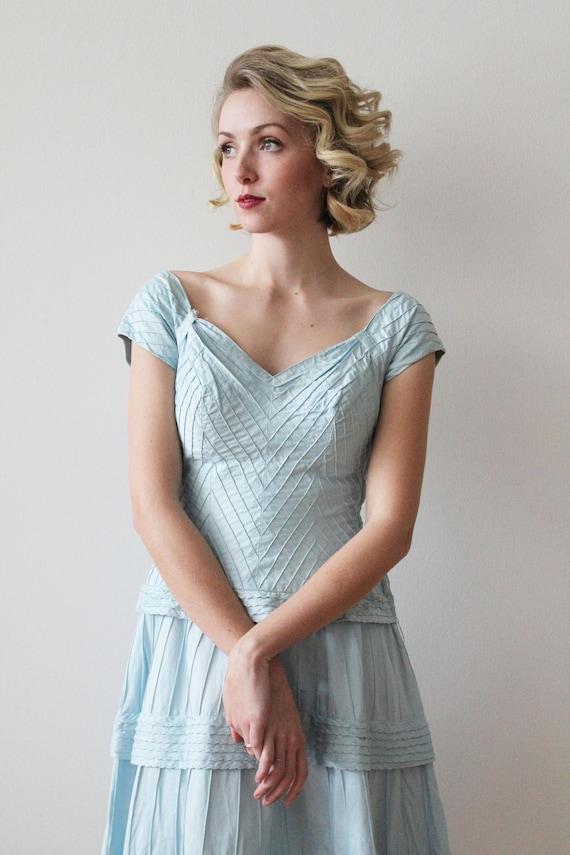 Vintage 1950s - 1960s Sky Blue Pima Cotton Tiered… - image 4