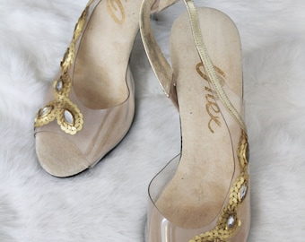 Vintage Clear Strappy Peep Toe High Heels with Gold and Silver Sequin Details Size 5.5