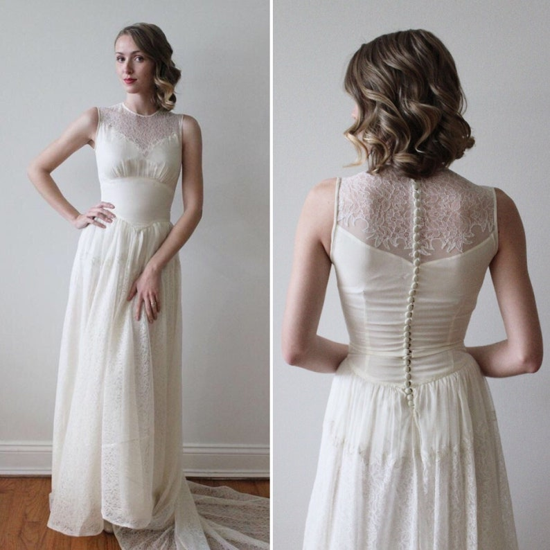 3f0a18b96a1 Vintage 1930s Sleeveless Wedding Dress with Lace Illusion