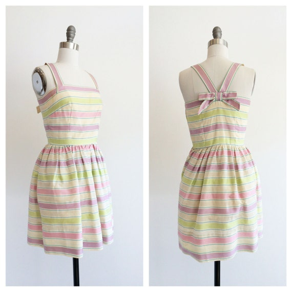 Vintage 1960's Green and Lilac Pastel Party Dress