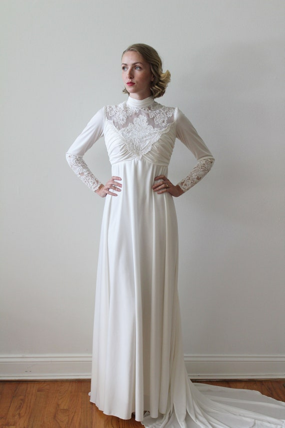 Vintage 1970s Long Sleeved Empire Waist Bridal Gown with Lace   Etsy