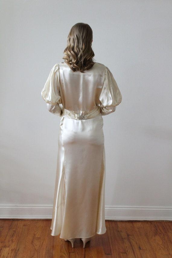 Vintage 1930's Bias Satin Long Sleeve Wedding Dre… - image 8