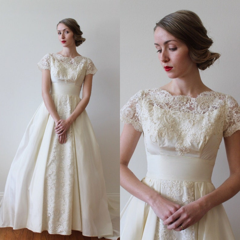 Vintage 1950s Short Sleeved Wedding Dress With Lace And Etsy