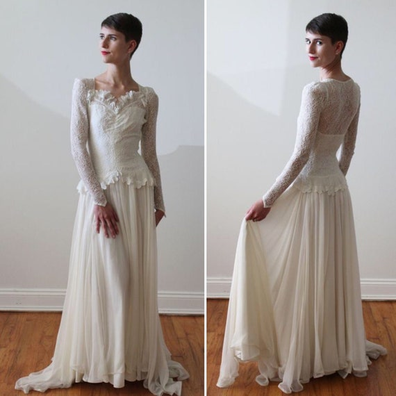 Vintage 1930s Long Sleeve Silk Lace and Chiffon We
