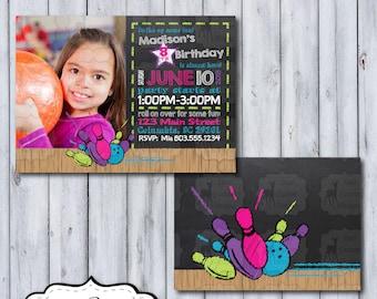 Photo Bowling Birthday Invitation | Bowling Chalkboard Birthday Invite | Bowling Party Invitation | Bowling Birthday Party | Bowling Party