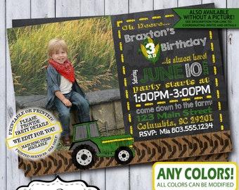 Green Tractor Birthday Photo Invitation