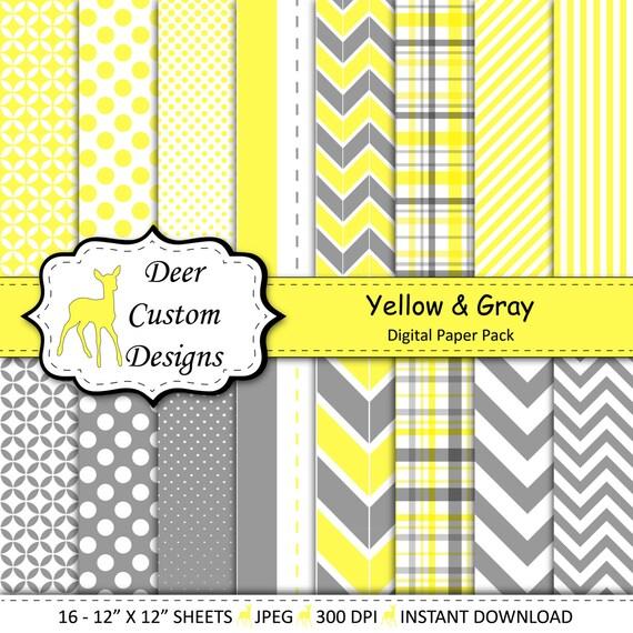 Yellow And Gray Digital Paper Pack 16 Yellow Grey Digital