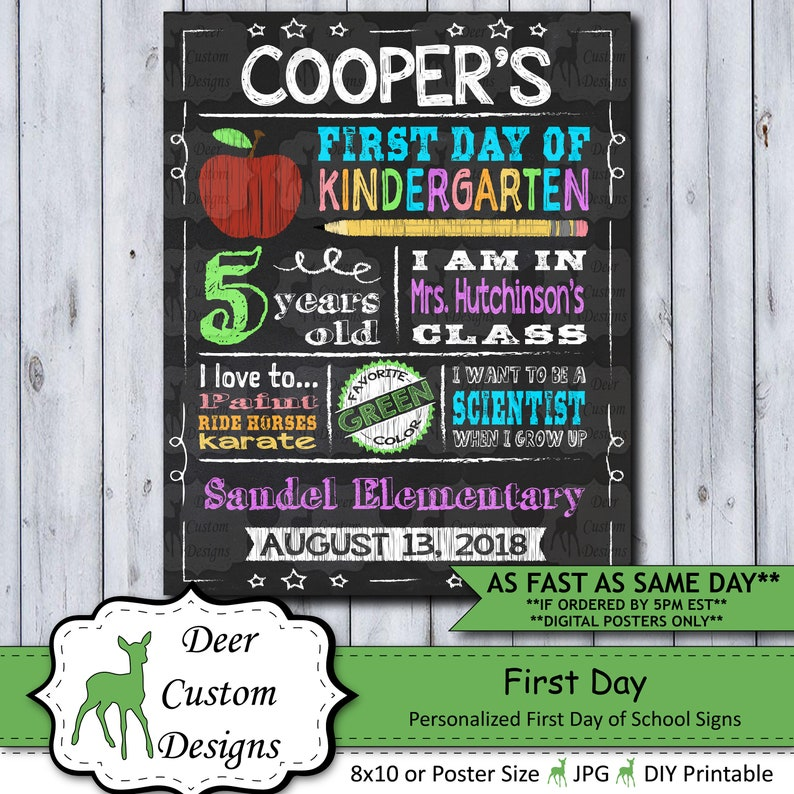 Back to School Sign  First Day School Sign  Printable or image 0
