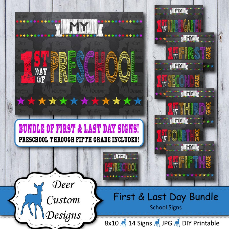 First Day School Sign Bundle  Printable First Day  School image 0