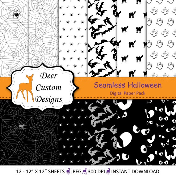 Seamless Halloween Digital Paper Pack 12 Halloween Digital Scrapbook Papers Commercial Use October 31 Ghosts Bats Cats Spiders Spooky By Deer Custom Designs Catch My Party