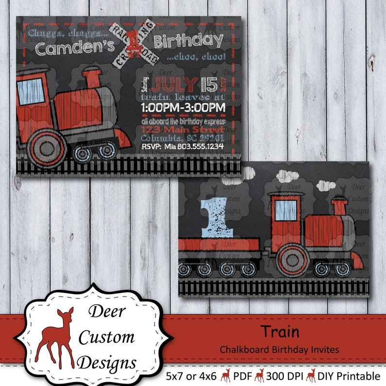 Train Birthday Invitation Trains Chalkboard Invite