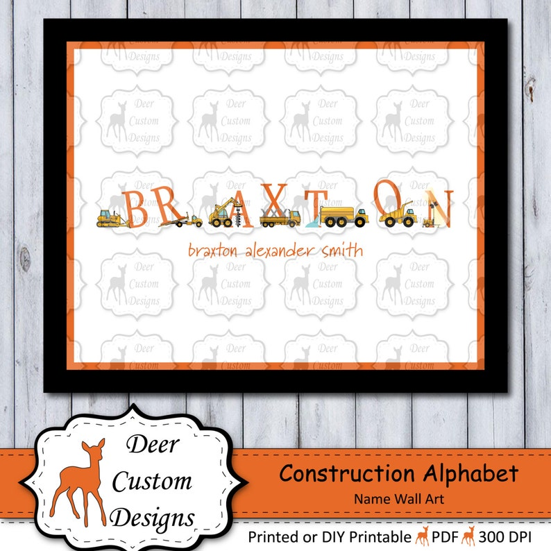 Personalized Construction Boy's Wall Art  Construction image 0