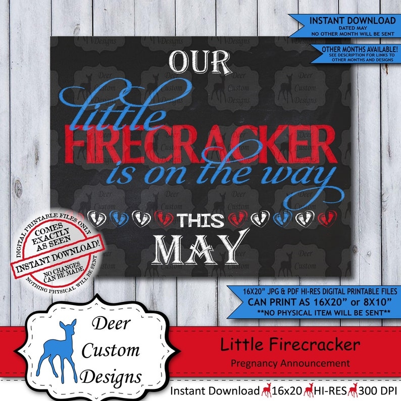 Patriotic Baby Reveal Printable Poster May Instant Download Sign Little Firecracker Chalkboard Pregnancy Announcement Photo Prop