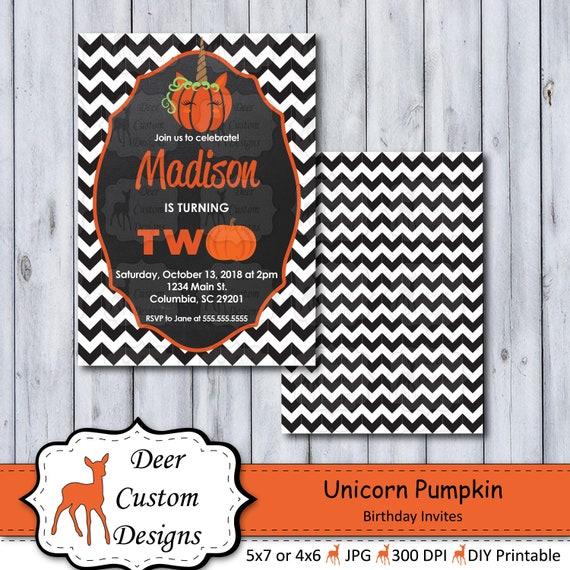 Unicorn Pumpkin Birthday Invitations