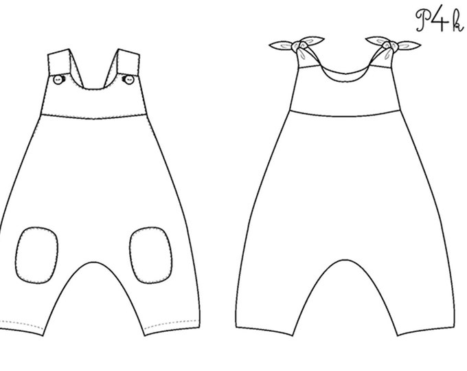 "Baby dungaree pattern without center seam with bows or buttons. 2 models bundle ""Lotte"" and ""Arturo"" by Pattern4kids"