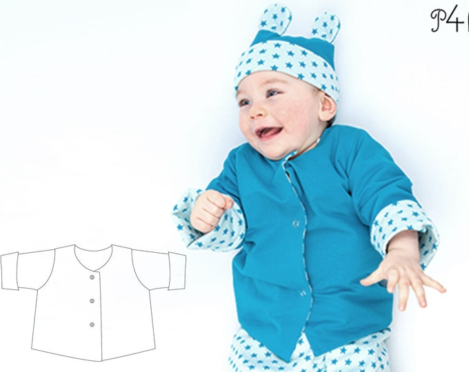 Easy Baby and Kids Jacket Sewing Pattern pdf for Boy + Girl with snaps + sleeve cuffs, Lined and Reversible FLAVIO by Patternforkids