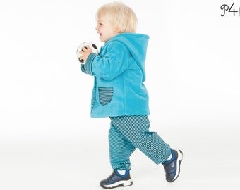 Baby jacket and pants pattern bundle. Hooded coat and lined toddler pants for boys and girls 1M to 3Y pdf TORINO + TORETTO by Patternforkids