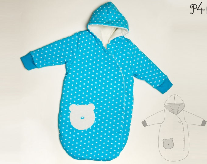 Baby outdoor sleep sack pattern lined with cuffs + hood. Kids sleeping bag Ebook PDF sizes 0M to 4Y NEVIO by Patternforkids
