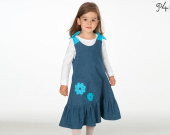 Baby girls dress pattern, easy tunic with hem ruffles + bow ties. Lined baby girl pinafore dress ebook pdf download SIENA by Patternforkids