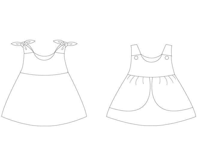 Baby dress pattern. Pinafore dress for girls and baby sizes 1M to 3Y. Easy sewing pattern for baby ROSA by Patternforkids