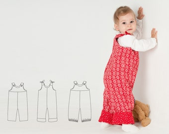 Baby girls + boys overall sewing pattern with straps LILLI&BO by Patternforkids. Toddler dungaree with padded yoke for summer and winter