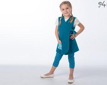 Baby girls dress + leggings bundle. Tunic wrap dress pattern with / without sleeves ebook pdf MARIE + BIBI by Patternforkids