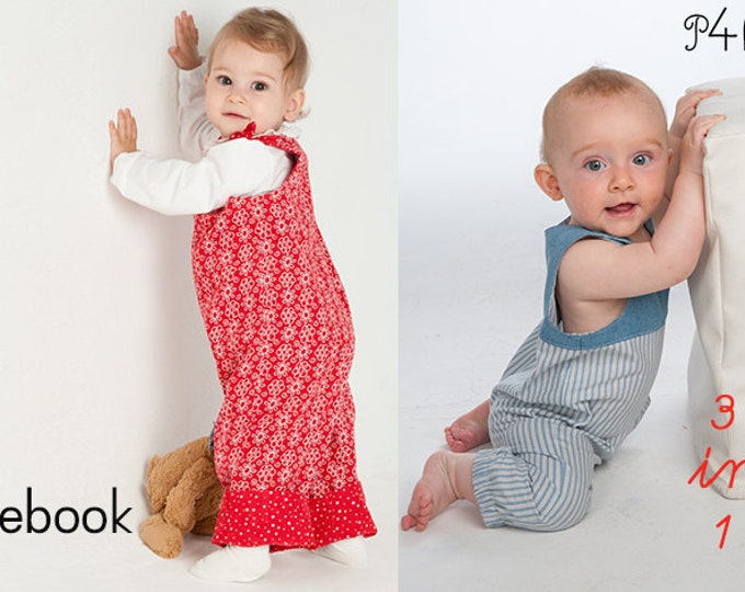 Baby dungaree sewing pattern pdf for boys + girls with straps and padded yoke to buttons or hem and loops to tie BOBBY + LILLI&BO Overall