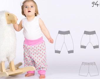 Baby Boy Girl Harem Pants pattern Pdf sewing pattern. Sweatpants, reversible yoga pants with ribbing ARIA by Patternforkids