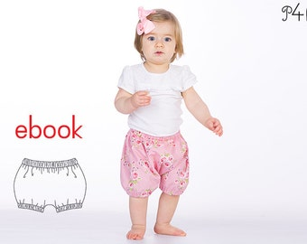 """Baby bloomers pattern, shorts, kids pants patterns, easy sewing pattern ebook download pdf with instructions """"Stella"""" from Patternforkids"""