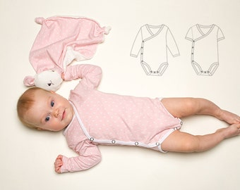 Baby Romper pdf Pattern, Jon Jon Pattern, bodysuit onesie for girls + boys easy to put on, winding toddler body CIELO from Patternforkids