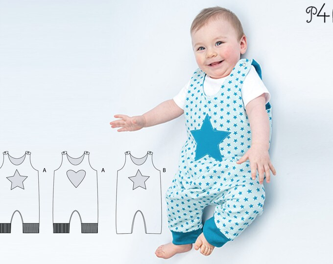 Baby dungaree sewing pattern pdf for boys + girls with knitted cuffs, lined and reversible. Jumpsuit overall ALBERTO by Patternforkids