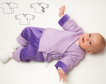 Baby outfit pattern for overall and pants, kids clothing set for winter. Ebook PDF from Patternforkids