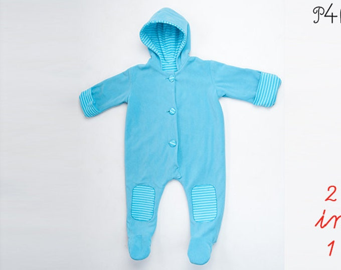 Romper Jumpsuit sewing pattern for baby girl and boy with hood, feet and arm wrap, lined. DORIAN by Patternforkids