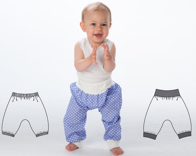 Baby Boy Girl Harem Pants pattern Pdf sewing pattern for toddler boys + girls. Sweatpants, yoga pants with ribbing BREK by Patternforkids