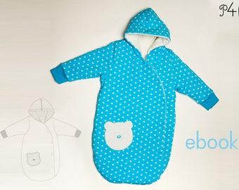 Baby sleeping bag pattern Nevio, sleep sack, cocoon, for baby, newborn, toddler, pear shaped, sewing pattern pdf download from Pattern4kids