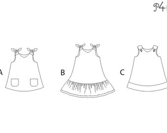 Girls pinafore dress pattern with hem and buttons STEFFI by Patternforkids. Easy girls tunic dress paper sewing pattern for baby and kids